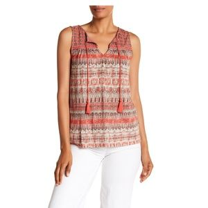 Lucky Brand Boho Split Neck Engineered Border S